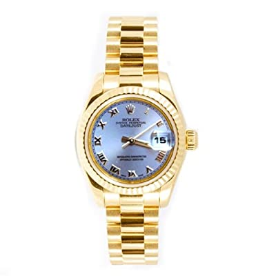 Rolex Ladys President New Style Heavy Band 18k Yellow Gold Model 179178 Fluted Bezel Silver Roman Dial