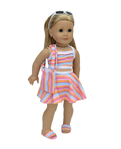 "6 piece Swimsuit Set Fits 18"" American Girl Doll Clothes Sunglasses included"