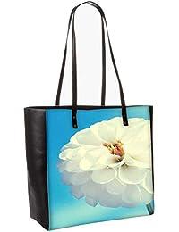 Flower White Obo, Shoulder Bag Tote Faux Leather Handbag Satchel Tote