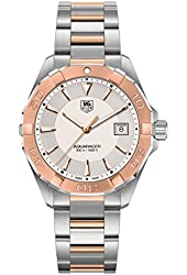 Tag Heuer Aquaracer Silver Dial Steel and 18kt Rose Gold Mens Watch WAY1150.BD0911