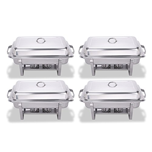 FoodKing Chafing Dish Set of 4 Stainless Steel Chafer Full Size 8 Quart Chafing Dishes for Catering Buffet Warmer Tray Kitchen Party Dining (Set of 4)
