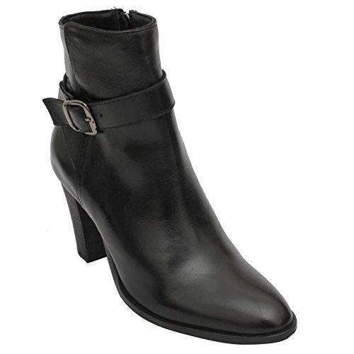 Salt-n-Pepper-Star-Black-100-Genuine-Leather-Women-High-Heel-Boots