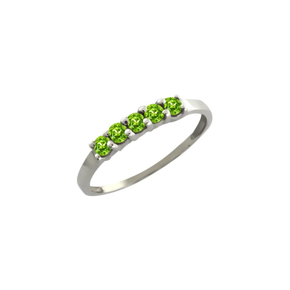 0.35 Ct Round Green Peridot 14k White Gold Ring
