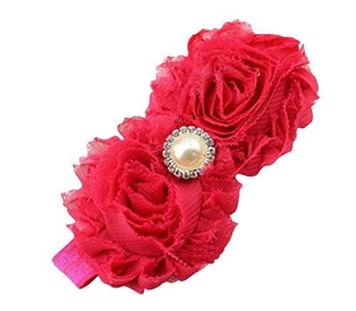 PinkXenia Newborn Infant Flower Pearl Shabby Baby Fuschia Pink Soft Elastic Headband