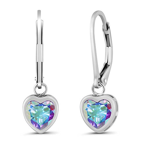 Sterling Silver Heart Shape Mercury Mist Mystic Topaz Women`s Earrings (2.14 cttw, 6MM)