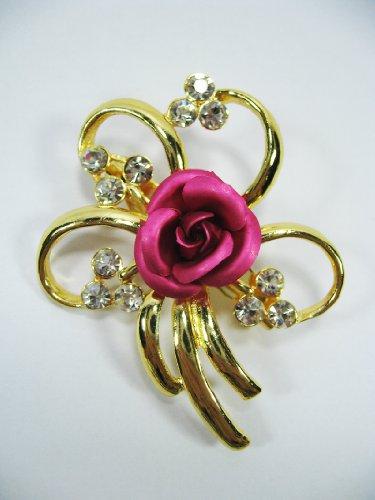 New Brooch Crystal Pink Flower Cute