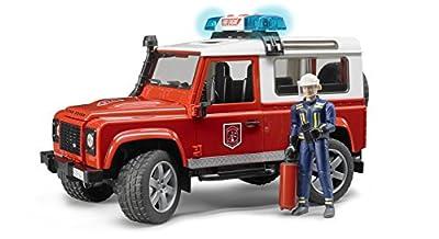 Bruder 02596 - Land Rover Defender Station Wagon Feuerwehreinsatzwagen mit Feuerwehrmann