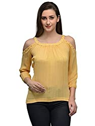 yellow shoulder cutout top with gloden studds on the neck