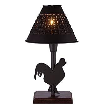 small metal rooster table lamp with punched tin shade. Black Bedroom Furniture Sets. Home Design Ideas