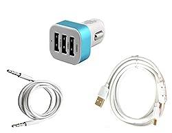 High Quality 5V/2.1 A Tripple (3) Jack USB Car Charger + Fast Charging USB Ca...