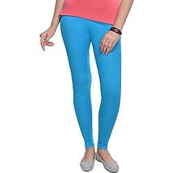 SUTI Cotton Lycra Bright Turquoise Colour Ankle Length Leggings