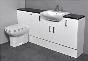 Gloss White Fitted Bathroom Vanity Furniture 1700mm Chrome tap and handles Toilet and Basin Sink