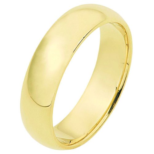 14K Yellow Gold, Half Round Wedding Band 6MM (sz 15)