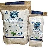 Cotton Balls, Jumbo Size & Cotton Squares-200 Cotton Balls-160 Cotton Squares
