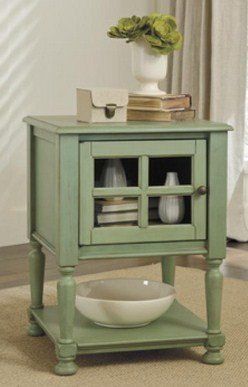 Ashley Furniture Signature Design Cottage Accents Chair Side End Table, Green front-1055913