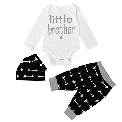Clothes Set ,BeautyVan Newborn Infant Clothes Baby Boy Tops Romper+ Leggings Pants Hat Outfits Set (6, Black)
