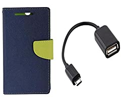 Novo Style Book Style Folio Wallet Case MicromaxCanvas Selfie Lens Q345 Blue + Micro USB OTG Cable Attach Pendrive Card Reader Mouse Keyboard to Tablets Mobile