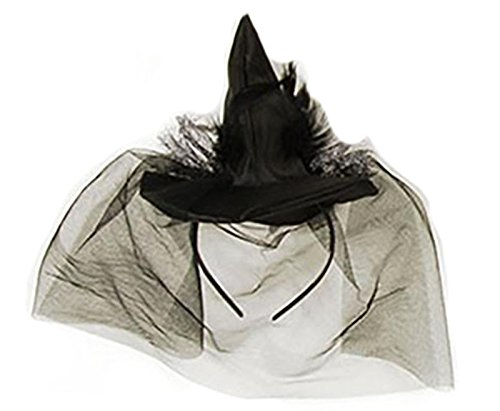 Mini Halloween Witch Hat Headband with Veil - Halloween Costume - 7.5