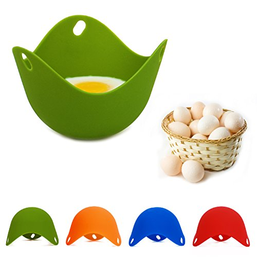 BSL Silicone Egg Poacher Non Stick Egg Poacher Cups Egg Cooker Cooking Perfect to Make Delicious Poached Egg in Minutes(Pack of 4) (Cooking Eggs In Microwave compare prices)