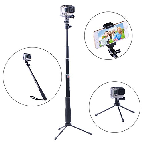 Smatree® SmaPole Q3 Telescoping Pole / Selfie Stick +Folding 3 Legs Support Stand for GoPro Hero, Hero4, Hero3+/3/2/1 hd Cameras & 1/4