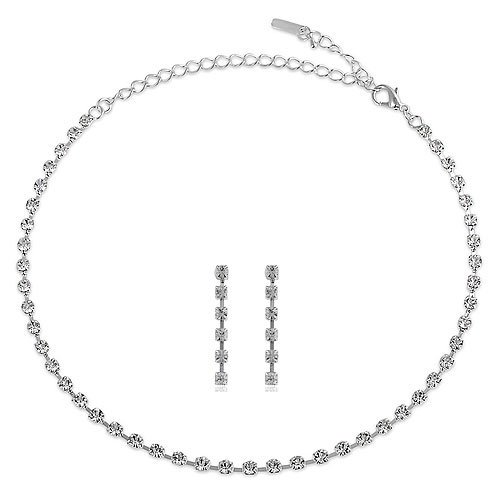 Silver Tone Bridesmaid Rhinestone 1-Row Choker Necklace Earrings Set
