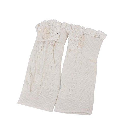 Oksale Baby Girls Boys Lace Crochet Knitted Boot Cuffs Leg Warmers Socks (White)