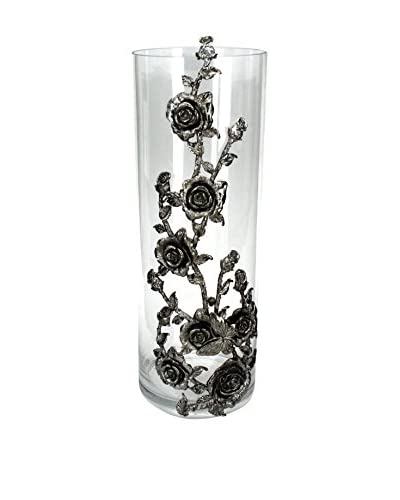 Tall Glass Hurricane with a Metal Rose Design, Clear/Antique Silver