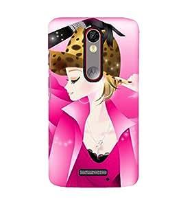 Printvisa Premium Back Cover Pink Gorl In A Tiger Hat Design For Motorola Moto X Force