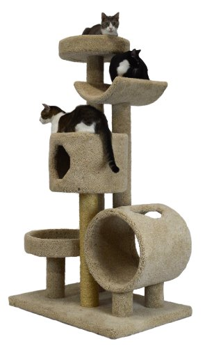 """Molly and Friends """"Jungle Gym"""" Premium Handmade 5-Tier Cat Tree with Sisal, Model 23L42, Beige"""