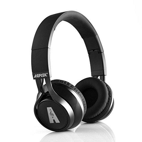 Schwarz On-ear Bluetooth 4.0v Kopfhörer Stereo Headset für Telefonie Musik mit alle Smartphones, Laptops, Tablets- EDR| Geräuschunterdrückung | apt-X