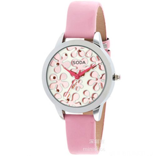 Ufingo-Fashionhigh End Luxury Nice Quartz Watch For Ladies/Women/Girls-Pink Leather Strap White Dial