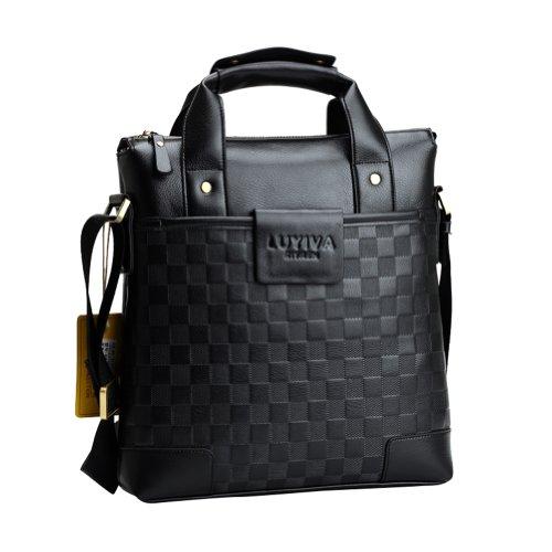 Men's Classic Checkered Stringer Bag Casual Business Traveller Shoulder Bag Handbag Briefcase