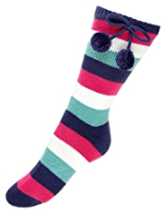 Striped Knitted Bootie Socks