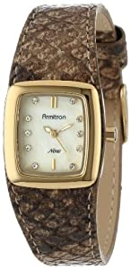Armitron Women's 75/5091CMGPLB Gold-Tone Light Brown Snake-Skin Pattern Leather Strap Watch
