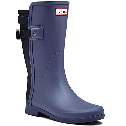 Womens Hunter Original Refined Back Strap Short Wellingtons Winter Boots - Mineral Blue/Midnight - 7 - 38