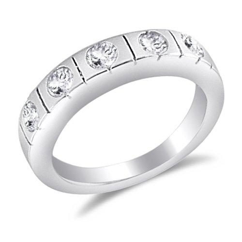 Wedding Band Bridal Set CZ Sterling Silver (3/4 CT), Size 6