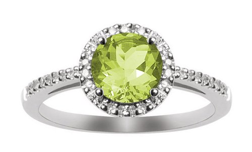 10k White Gold, August Birthstone, Peridot and Diamond Ring