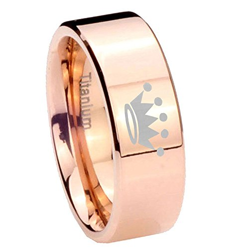 8Mm Rose Gold Ip Titanium Crown Silver Pipe Cut Mens Ring Size 10