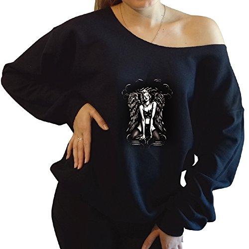 Marilyn Monroe With Angel Wings Slouchy Oversized Sweatshirt Xx Large, Black