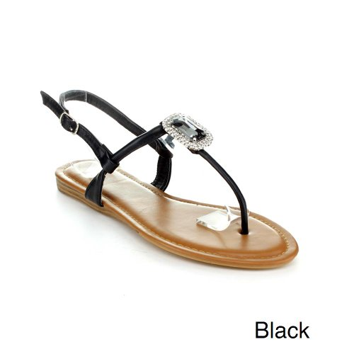 Top Moda Beach-5 Women'S Casual Flat Thong Sandals, Color:Black, Size:8.5 front-39418