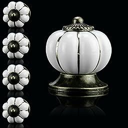 Ceramic Vintage Pumpkin Cabinet Drawer Knob Door Handle Pull Ivory Door Cupboard Drawer Locker (15PCS)