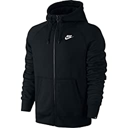 Nike Mens AW77 Fleece Full-Zip Hooded Sweatshirt Black/White 576978-013 Size 2X-Large