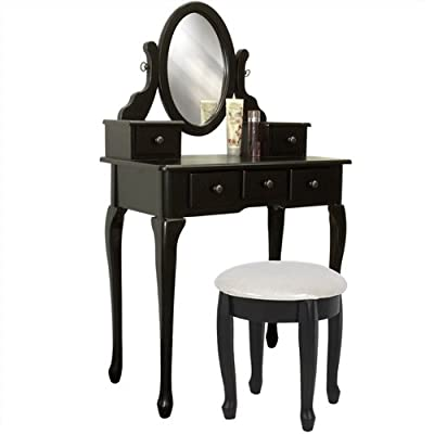 Shopping On Black Vanity Table Set Jewelry Armoire Makeup Desk Bench