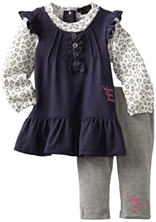 Calvin Klein Baby-girls Infant Denim Tunic with Leggings, Assorted, 12 Months