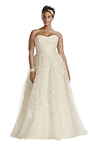 Plus Size Oleg Cassini Organza Wedding Dress with Beading Style 8CWG700,...