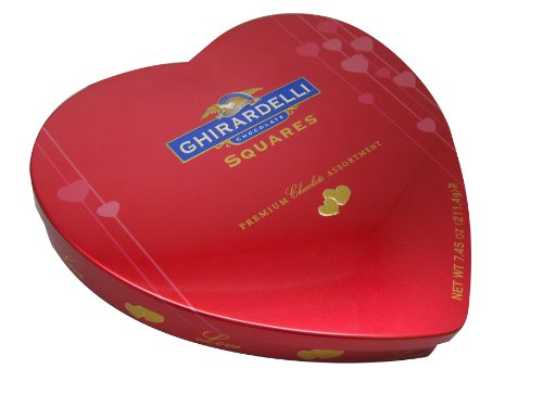 Ghirardelli Valentine's Chocolate Squares, Premium Chocolate Assortment, 7.45-Ounce Red Heart Tin