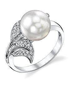 buy 9Mm White South Sea Cultured Pearl & Diamond Eva Ring In 18K Gold