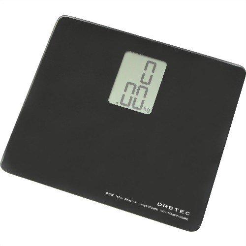 【Amazonの商品情報へ】DRETEC ボディスケール 「プティ」 【A4サイズよりもコンパクトなガラス製体重計】 ブラック BS-113BK