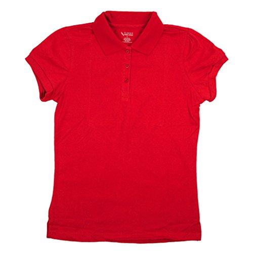 Classic School Uniform Girls Junior Short Sleeve Polo Shirt Medium Red