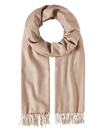 Frentani Scarf, classic - uni coloured stola - fringed, soft like cashmere,beige